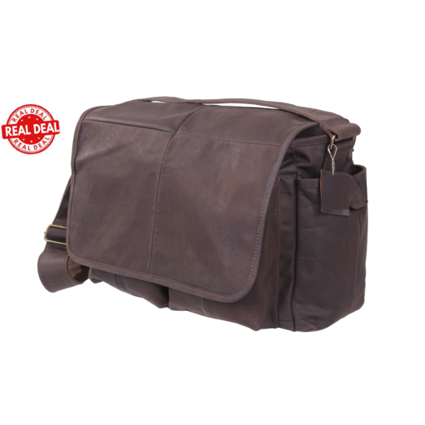Classic Oversized Brown Leather Messenger Bag